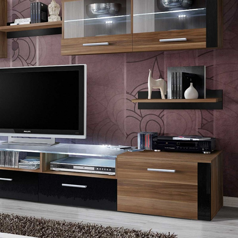 meuble tv mural design zoom 250cm brun noir. Black Bedroom Furniture Sets. Home Design Ideas