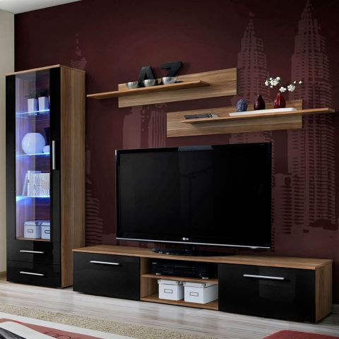 ensemble meuble tv biblioth que galino i wood prunier noir. Black Bedroom Furniture Sets. Home Design Ideas