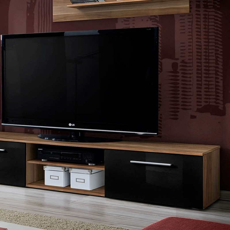 ensemble meuble tv biblioth que galino i wood noir brun. Black Bedroom Furniture Sets. Home Design Ideas