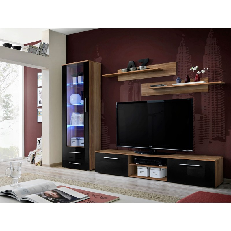 ensemble meuble tv biblioth que galino i wood blanc brun. Black Bedroom Furniture Sets. Home Design Ideas