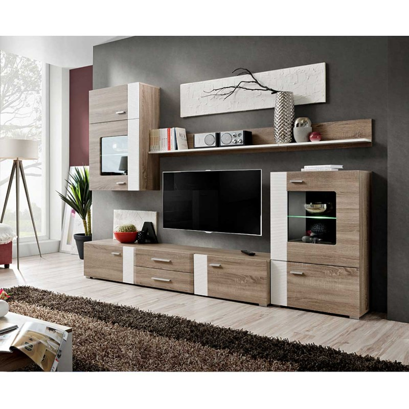 meuble tv mural design aleppo 240cm ch ne blanc. Black Bedroom Furniture Sets. Home Design Ideas