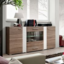 "Buffet 2 Portes Design ""Aleppo"" 160cm Chêne & Blanc"