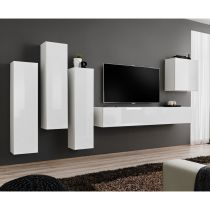 "Meuble TV Mural Design ""Switch III"" 330cm Blanc"