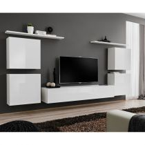 "Meuble TV Mural Design ""Switch IV"" 320cm Blanc"