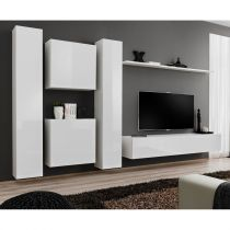 "Meuble TV Mural Design ""Switch VI"" 330cm Blanc"
