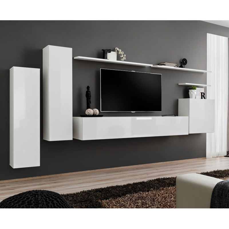 Meuble tv mural design switch i 330cm blanc for Meuble tv mural design
