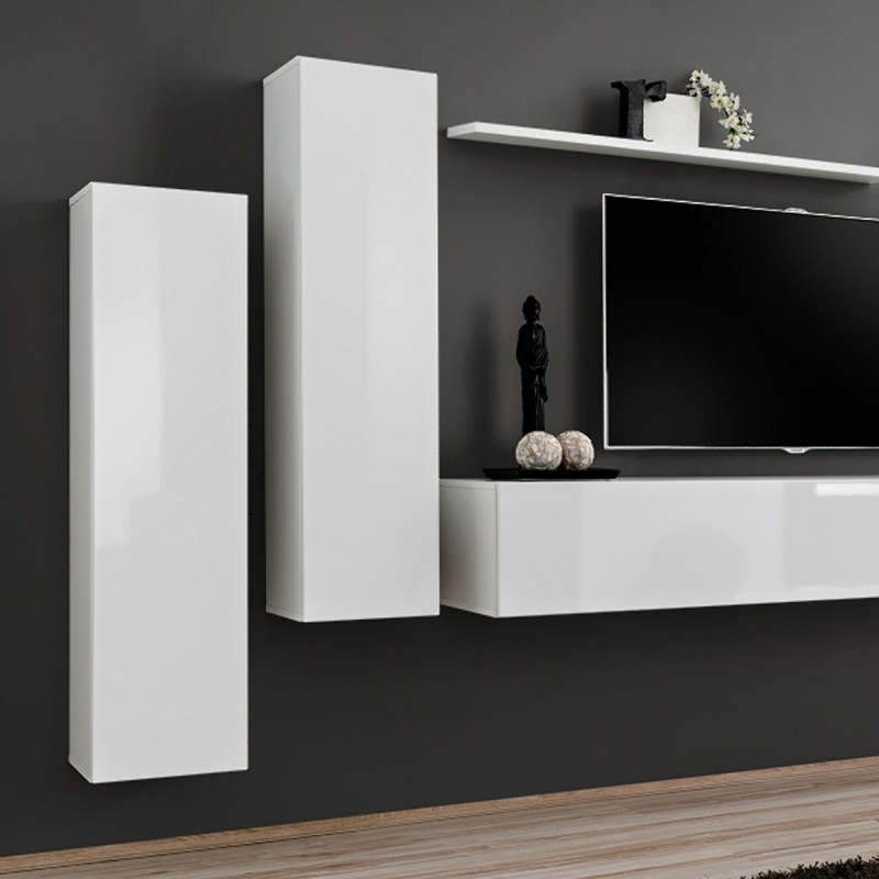 Meuble tv mural design switch i 330cm blanc for Meuble mural 160 cm