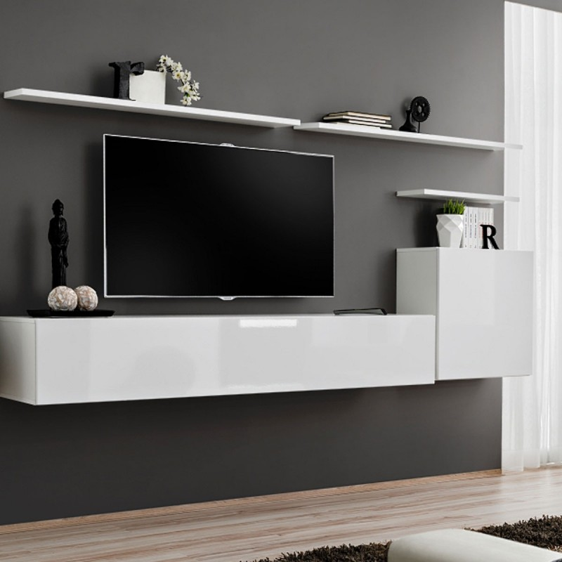 meuble mural tv blanc meuble tv mural blanc laqu et bois 3m40 novomeuble boekenkast modern. Black Bedroom Furniture Sets. Home Design Ideas