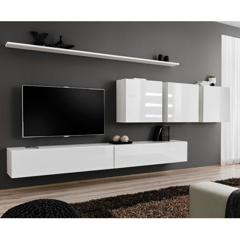 Meuble tv mural design switch vii 330cm blanc for Meuble mural 160 cm