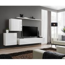 "Meuble TV Mural Design ""Switch V"" 250cm Blanc"