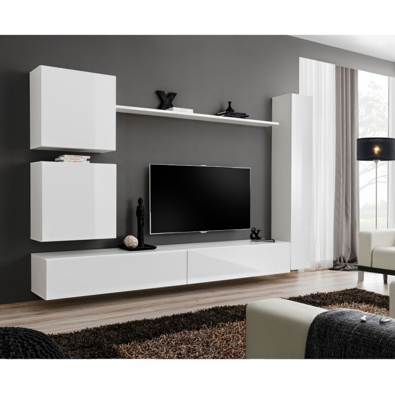 Meuble tv mural design switch viii 280cm blanc for Meuble tv mural design