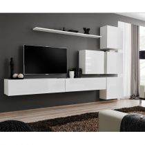 "Meuble TV Mural Design ""Switch IX"" 310cm Blanc"