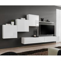 "Meuble TV Mural Design ""Switch X"" 330cm Blanc"