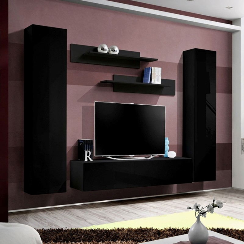 Meuble tv mural design fly i 260cm noir for Meuble mural tv fly