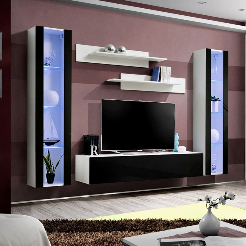 meuble tv mural design fly ii 260cm noir blanc. Black Bedroom Furniture Sets. Home Design Ideas