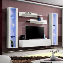 "Meuble TV Mural Design ""Fly II"" 260cm Blanc"