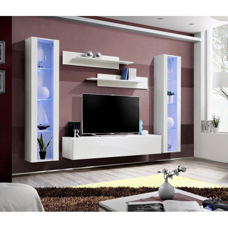 meuble tv mural design fly ii 260cm blanc. Black Bedroom Furniture Sets. Home Design Ideas