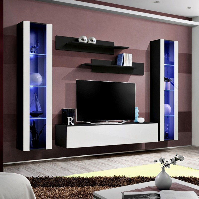 Meuble tv mural design fly ii 260cm blanc noir for Meuble mural tv fly