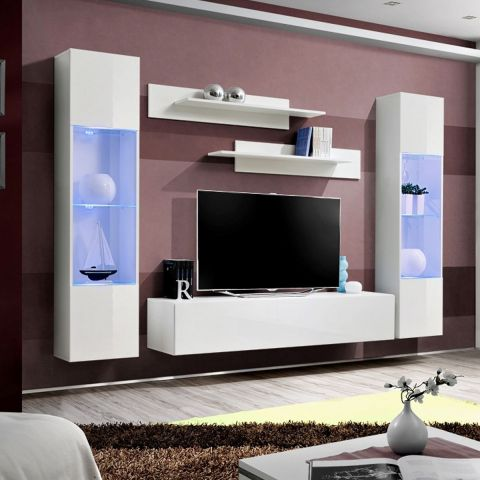 meuble tv mural design fly iii 260cm blanc. Black Bedroom Furniture Sets. Home Design Ideas