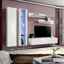 "Meuble TV Mural Design ""Fly IV"" 260cm Blanc"