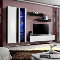 "Meuble TV Mural Design ""Fly IV"" 260cm Blanc & Noir"