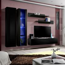 "Meuble TV Mural Design ""Fly IV"" 260cm Noir"