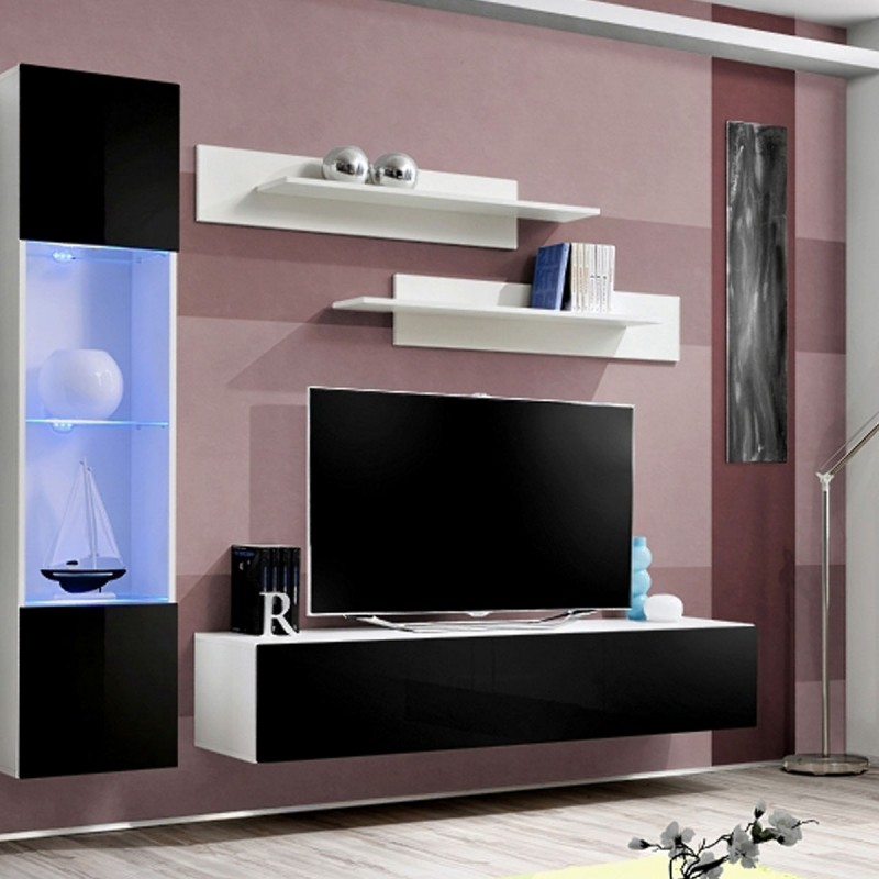 meuble tv mural design fly v 260cm noir blanc. Black Bedroom Furniture Sets. Home Design Ideas