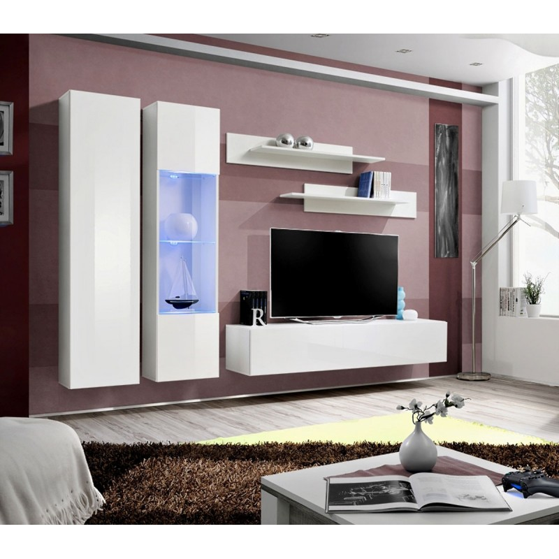 meuble tv mural design fly v 260cm blanc. Black Bedroom Furniture Sets. Home Design Ideas