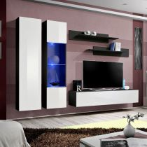 "Meuble TV Mural Design ""Fly V"" 260cm Blanc & Noir"