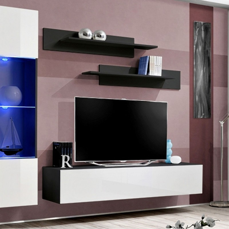 Meuble tv mural design fly v 260cm blanc noir for Meuble mural tv fly