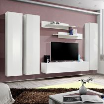 "Meuble TV Mural Design ""Fly I"" 310cm Blanc"