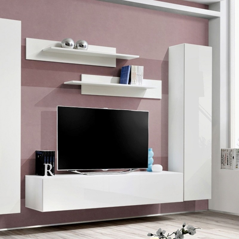 meuble tv mural design fly i 310cm blanc. Black Bedroom Furniture Sets. Home Design Ideas