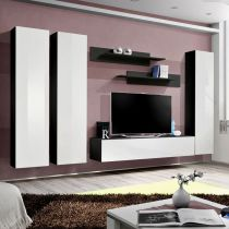 "Meuble TV Mural Design ""Fly I"" 310cm Blanc & Noir"