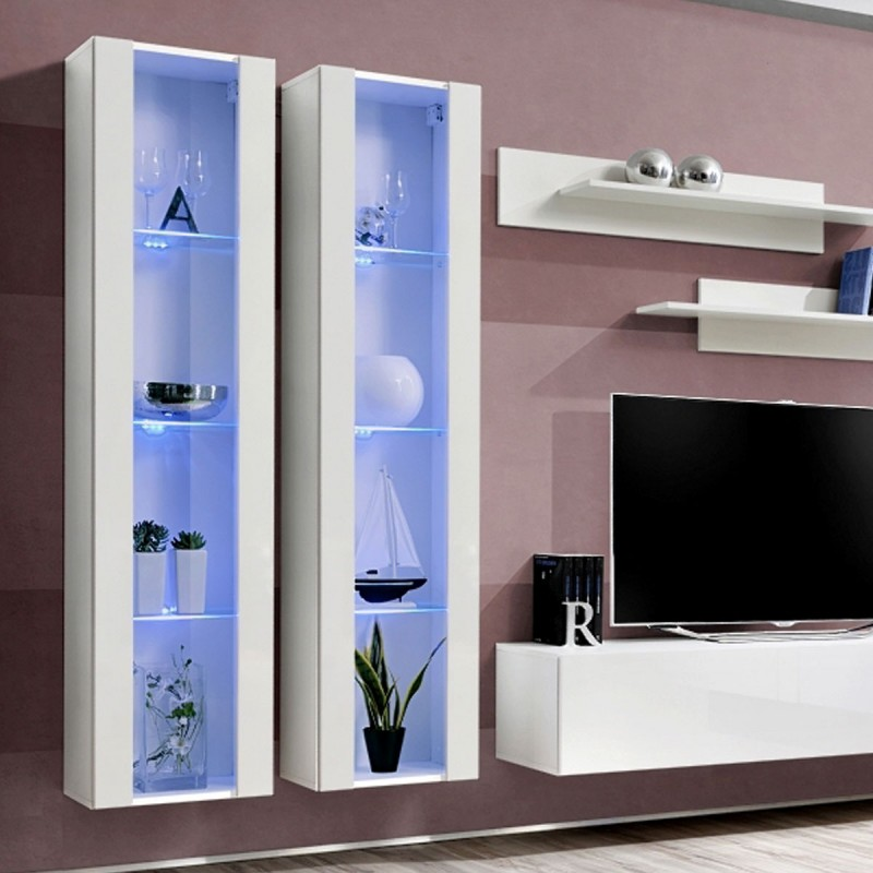 meuble tv mural design fly ii 310cm blanc. Black Bedroom Furniture Sets. Home Design Ideas