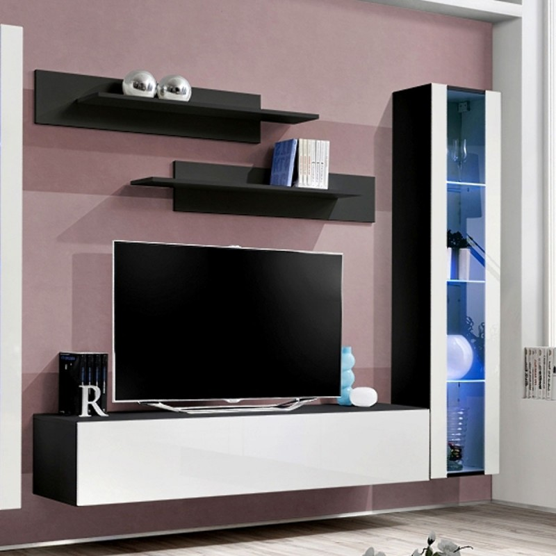 meuble tv mural design fly ii 310cm blanc noir. Black Bedroom Furniture Sets. Home Design Ideas
