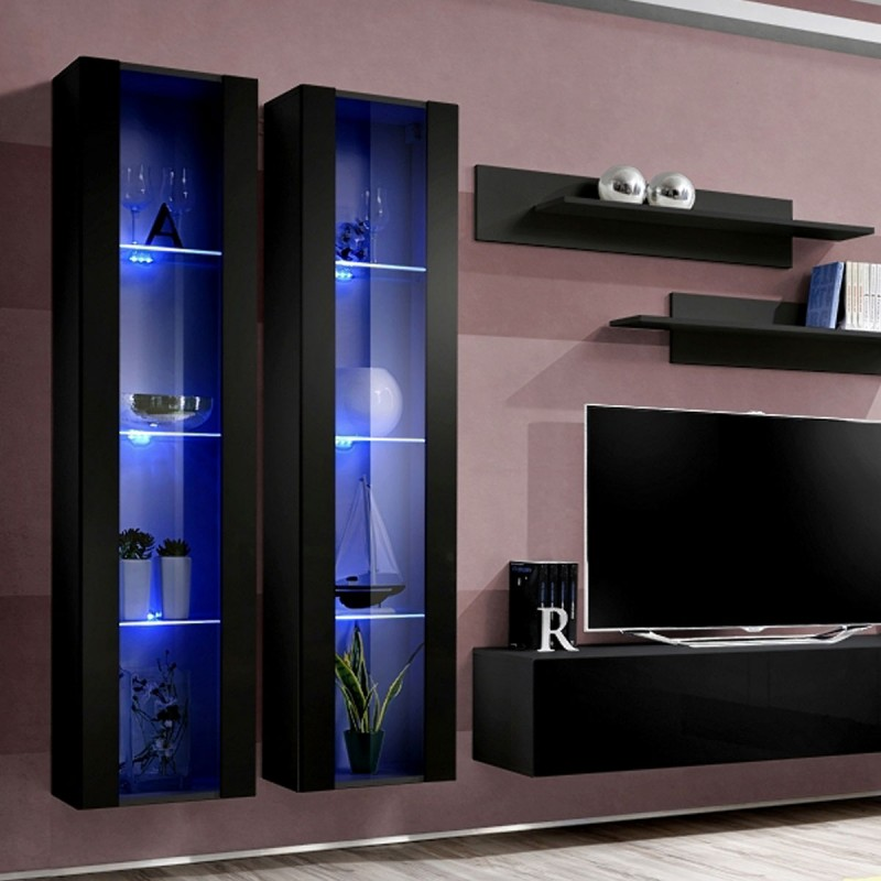 meuble tv mural design fly ii 310cm noir. Black Bedroom Furniture Sets. Home Design Ideas