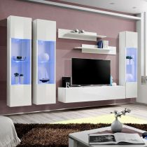 "Meuble TV Mural Design ""Fly III"" 310cm Blanc"