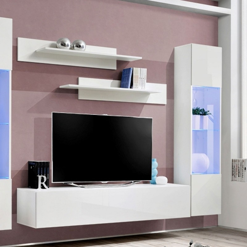 Meuble tv mural design fly iii 310cm blanc for Meuble mural tv fly