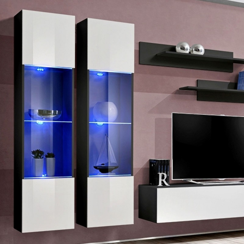 meuble tv mural design fly iii 310cm blanc noir. Black Bedroom Furniture Sets. Home Design Ideas