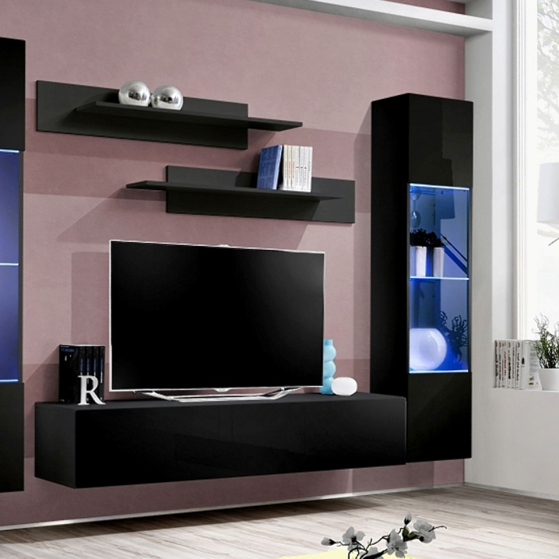 Meuble tv mural design fly iii 310cm noir for Meuble mural tv fly