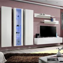 "Meuble TV Mural Design ""Fly IV"" 310cm Blanc"