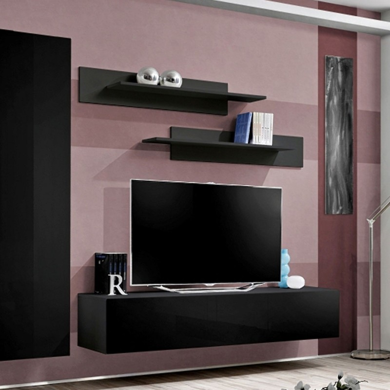 Meuble tv mural design fly iv 310cm noir for Meuble mural tv fly