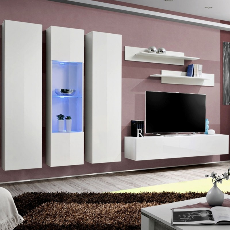 meuble tv mural design fly v 310cm blanc. Black Bedroom Furniture Sets. Home Design Ideas