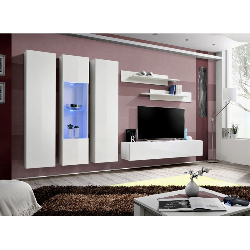 Meuble tv mural design fly v 310cm blanc - Meuble bibliotheque fly ...