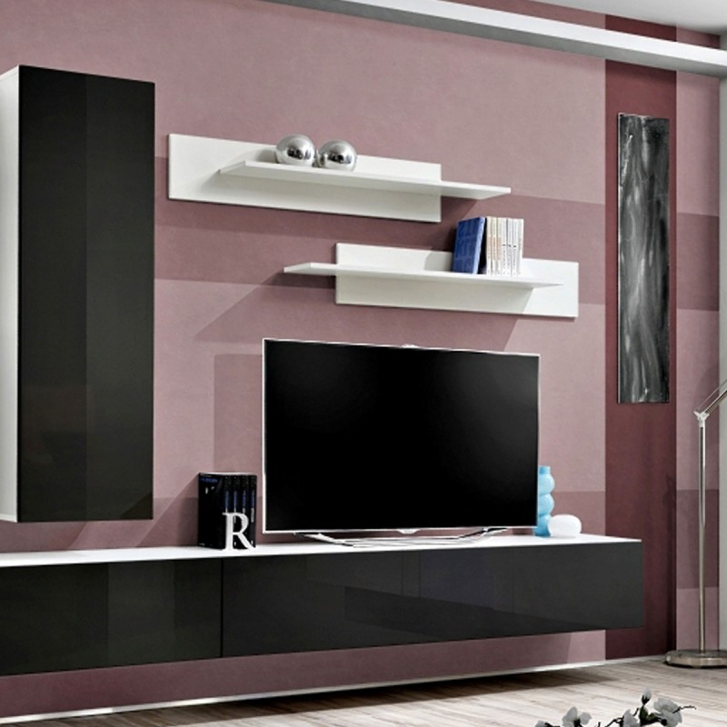 Meuble tv mural design fly i 320cm noir blanc for Meuble tv 110 cm fly