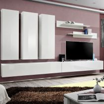 "Meuble TV Mural Design ""Fly I"" 320cm Blanc"