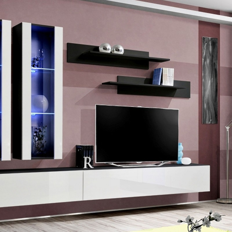 meuble tv mural design fly ii 320cm blanc noir. Black Bedroom Furniture Sets. Home Design Ideas
