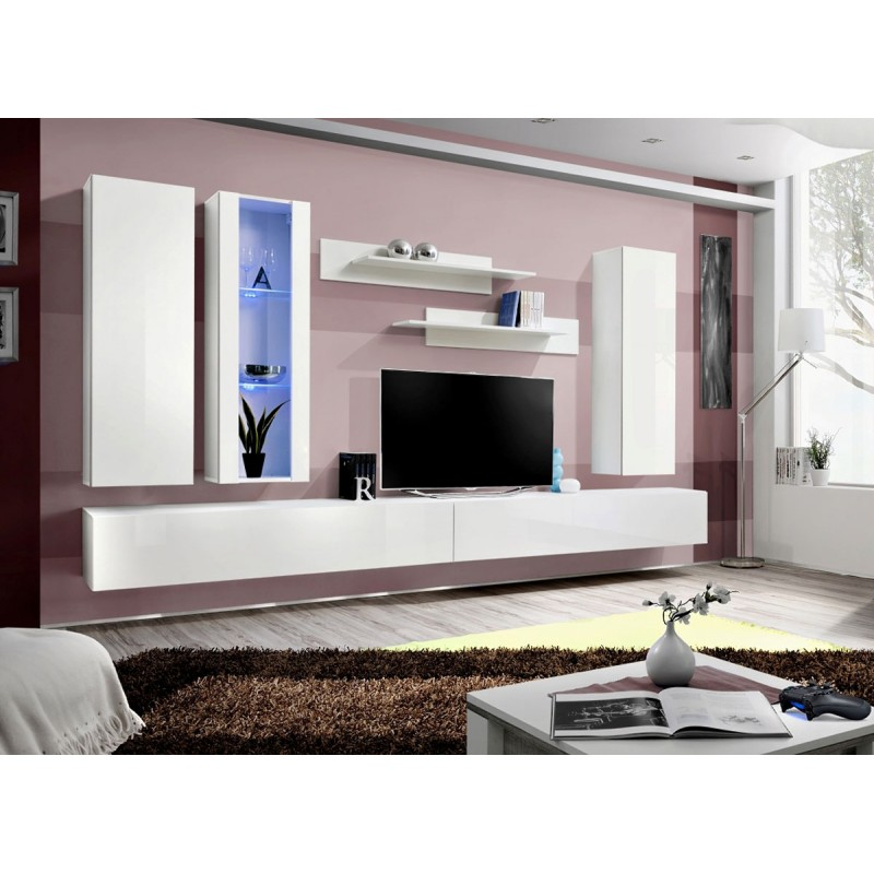 meuble tv mural design fly iv 320cm blanc. Black Bedroom Furniture Sets. Home Design Ideas