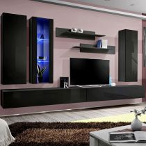 "Meuble TV Mural Design ""Fly IV"" 320cm Noir"