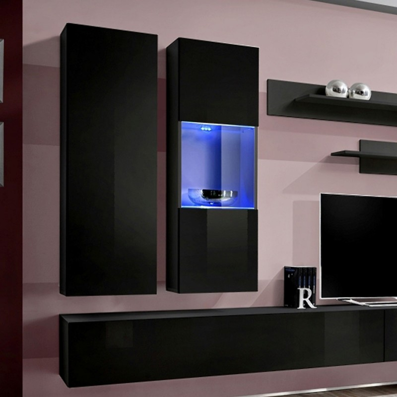 meuble tv mural design fly v 320cm noir. Black Bedroom Furniture Sets. Home Design Ideas